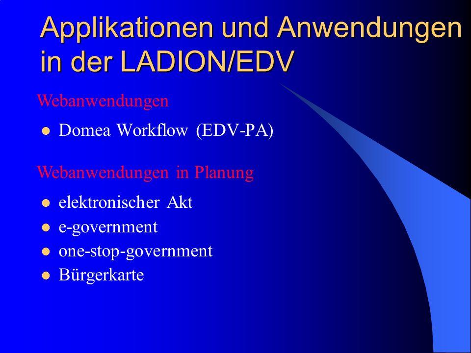 Applikationen und Anwendungen in der LADION/EDV Domea Workflow (EDV-PA) elektronischer Akt e-government one-stop-government Bürgerkarte Webanwendungen Webanwendungen in Planung