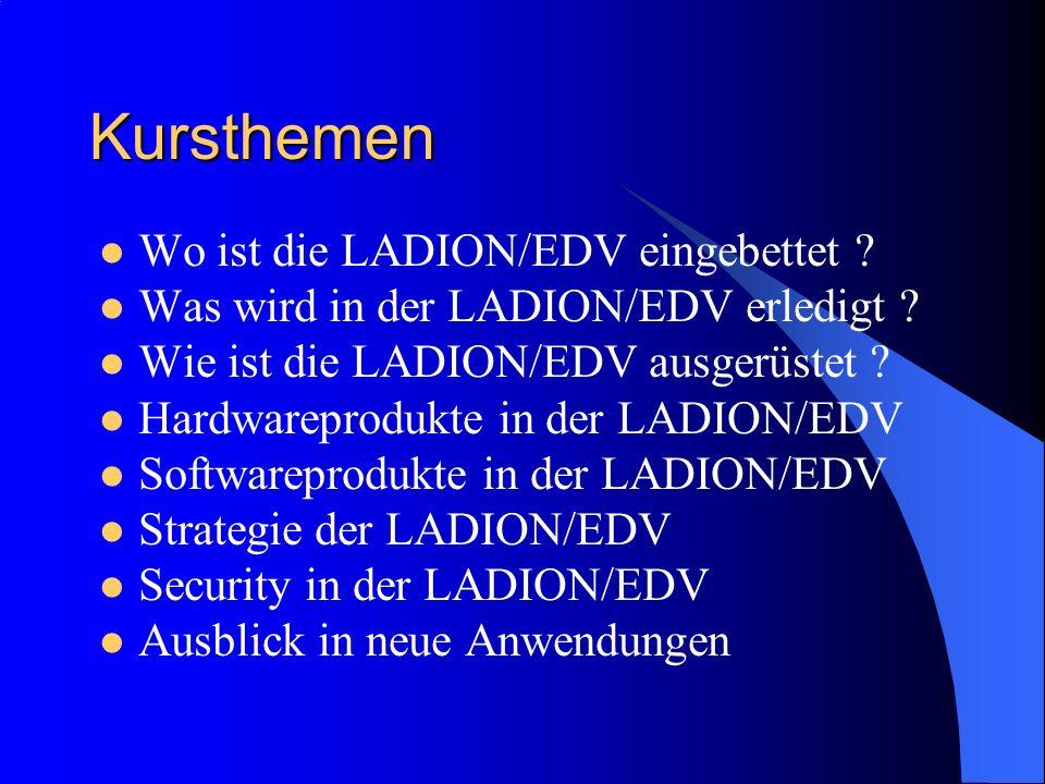 Kursthemen Wo ist die LADION/EDV eingebettet ? Was wird in der LADION/EDV erledigt ? Wie ist die LADION/EDV ausgerüstet ? Hardwareprodukte in der LADI