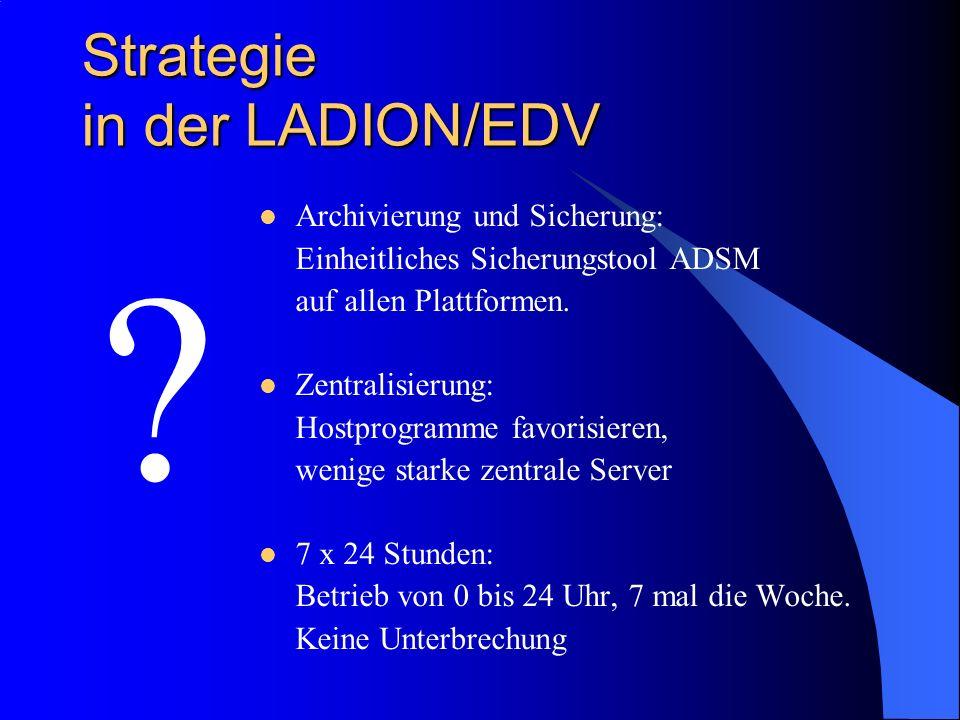 Strategie in der LADION/EDV ? Archivierung und Sicherung: Einheitliches Sicherungstool ADSM auf allen Plattformen. Zentralisierung: Hostprogramme favo