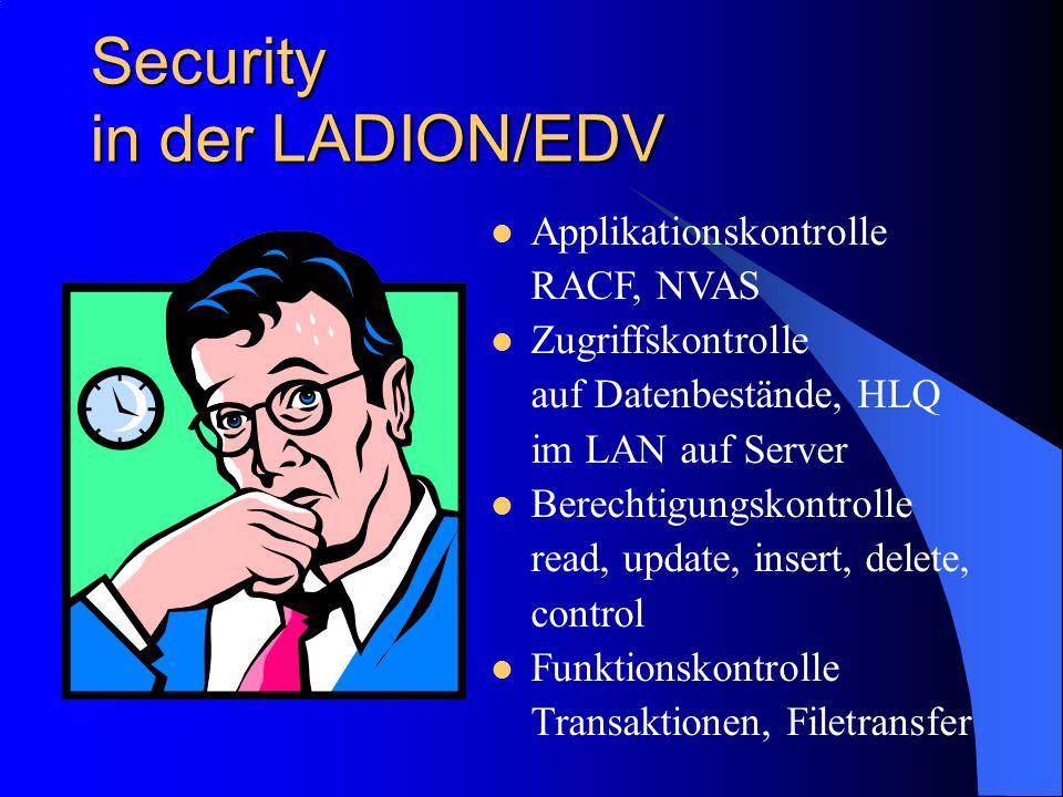 Security in der LADION/EDV Applikationskontrolle RACF, NVAS Zugriffskontrolle auf Datenbestände, HLQ im LAN auf Server Berechtigungskontrolle read, update, insert, delete, control Funktionskontrolle Transaktionen, Filetransfer
