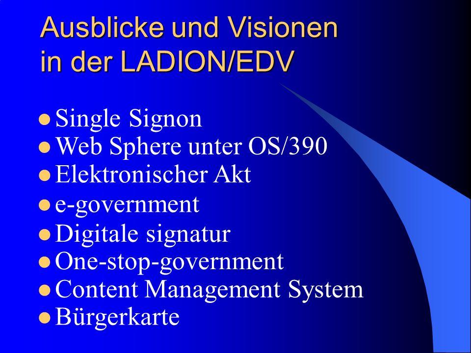 Ausblicke und Visionen in der LADION/EDV Single Signon Web Sphere unter OS/390 e-government Digitale signatur Content Management System One-stop-government Bürgerkarte Elektronischer Akt