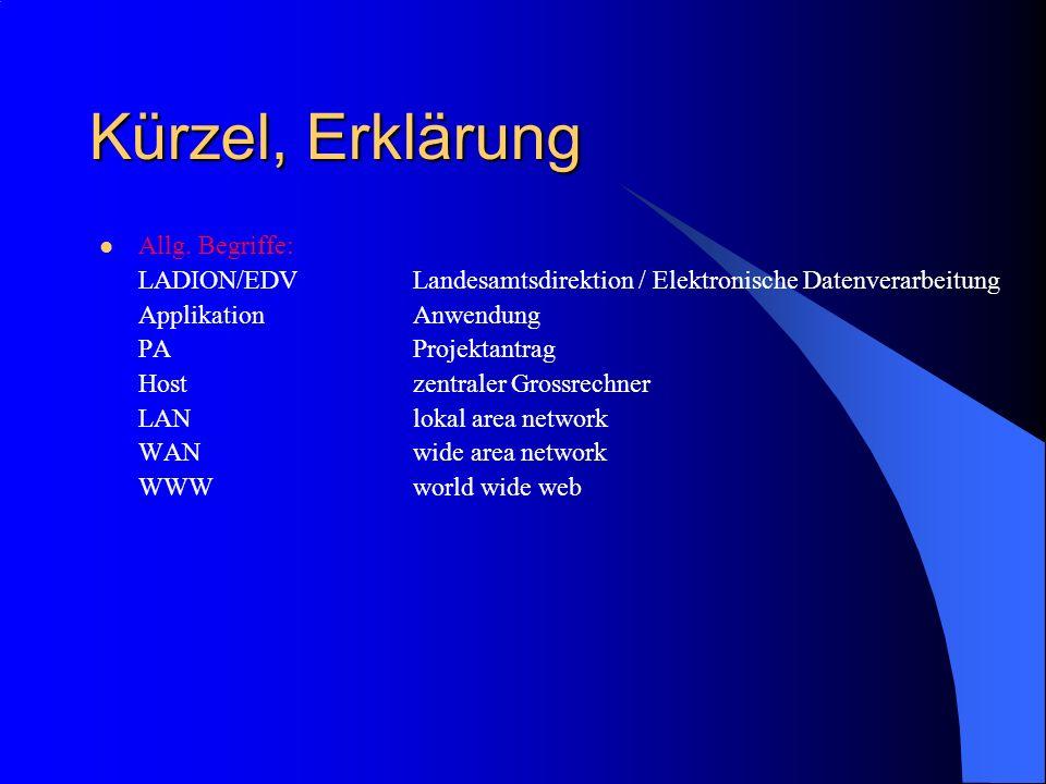 Kürzel, Erklärung Allg. Begriffe: LADION/EDVLandesamtsdirektion / Elektronische Datenverarbeitung ApplikationAnwendung PAProjektantrag Hostzentraler G