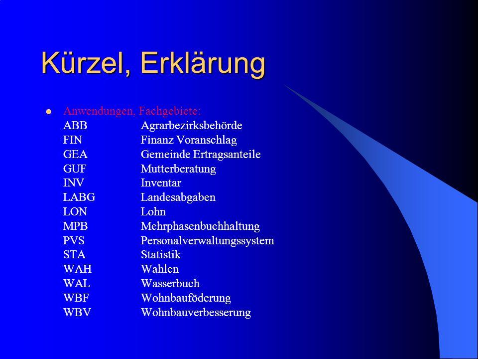 Kürzel, Erklärung Anwendungen, Fachgebiete: ABBAgrarbezirksbehörde FINFinanz Voranschlag GEAGemeinde Ertragsanteile GUFMutterberatung INVInventar LABG