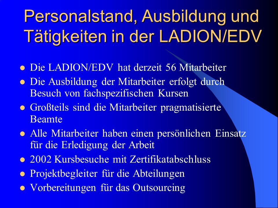 Personalstand, Ausbildung und Tätigkeiten in der LADION/EDV Die LADION/EDV hat derzeit 56 Mitarbeiter Die Ausbildung der Mitarbeiter erfolgt durch Bes