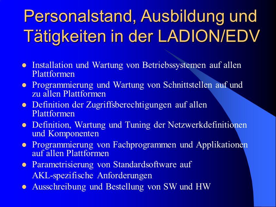 Personalstand, Ausbildung und Tätigkeiten in der LADION/EDV Installation und Wartung von Betriebssystemen auf allen Plattformen Programmierung und Wartung von Schnittstellen auf und zu allen Plattformen Definition der Zugriffsberechtigungen auf allen Plattformen Definition, Wartung und Tuning der Netzwerkdefinitionen und Komponenten Programmierung von Fachprogrammen und Applikationen auf allen Plattformen Parametrisierung von Standardsoftware auf AKL-spezifische Anforderungen Ausschreibung und Bestellung von SW und HW