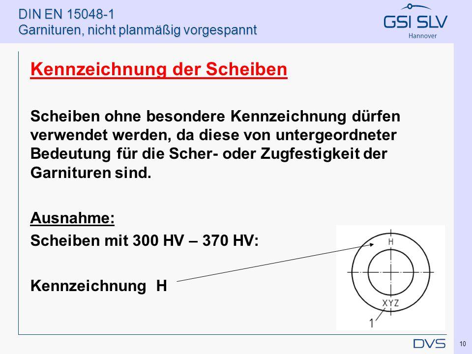 DIN EN 15048-1 Garnituren, nicht planmäßig vorgespannt Kennzeichnung der Scheiben Scheiben ohne besondere Kennzeichnung dürfen verwendet werden, da di