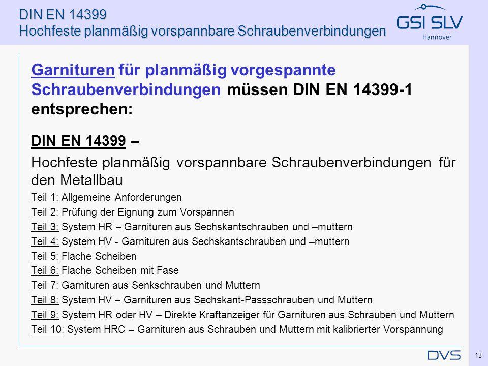 DIN EN 14399 Hochfeste planmäßig vorspannbare Schraubenverbindungen Garnituren für planmäßig vorgespannte Schraubenverbindungen müssen DIN EN 14399-1