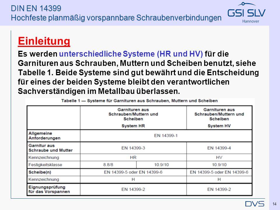 DIN EN 14399 Hochfeste planmäßig vorspannbare Schraubenverbindungen Einleitung Es werden unterschiedliche Systeme (HR und HV) für die Garnituren aus S