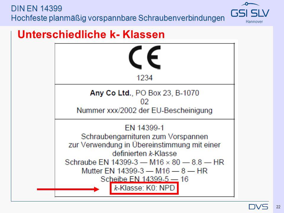 DIN EN 14399 Hochfeste planmäßig vorspannbare Schraubenverbindungen Unterschiedliche k- Klassen 22