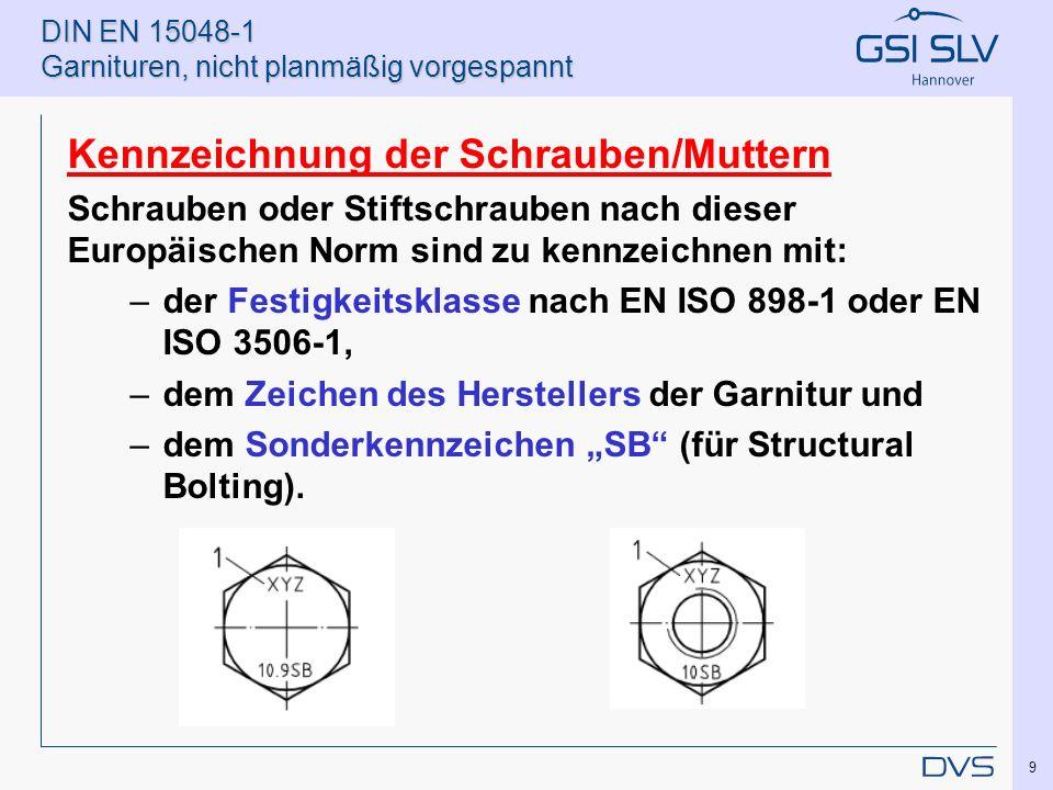 DIN EN 15048-1 Garnituren, nicht planmäßig vorgespannt Kennzeichnung der Schrauben/Muttern Schrauben oder Stiftschrauben nach dieser Europäischen Norm