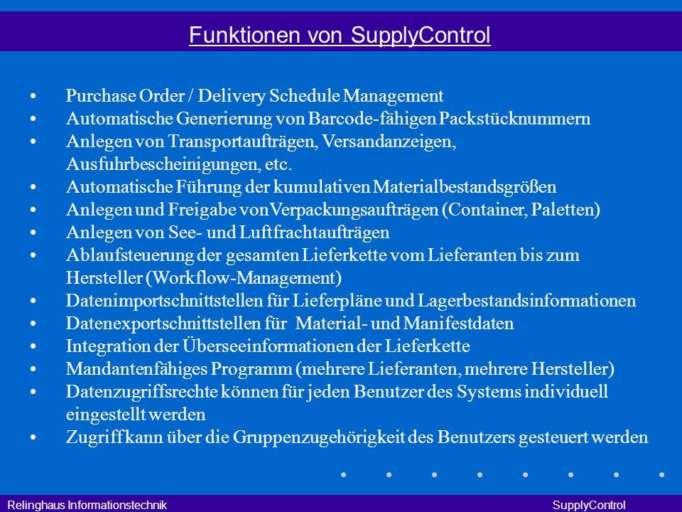 Relinghaus Informationstechnik SupplyControl Funktionen von SupplyControl Purchase Order / Delivery Schedule Management Automatische Generierung von B