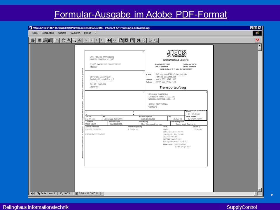 Relinghaus Informationstechnik SupplyControl Formular-Ausgabe im Adobe PDF-Format