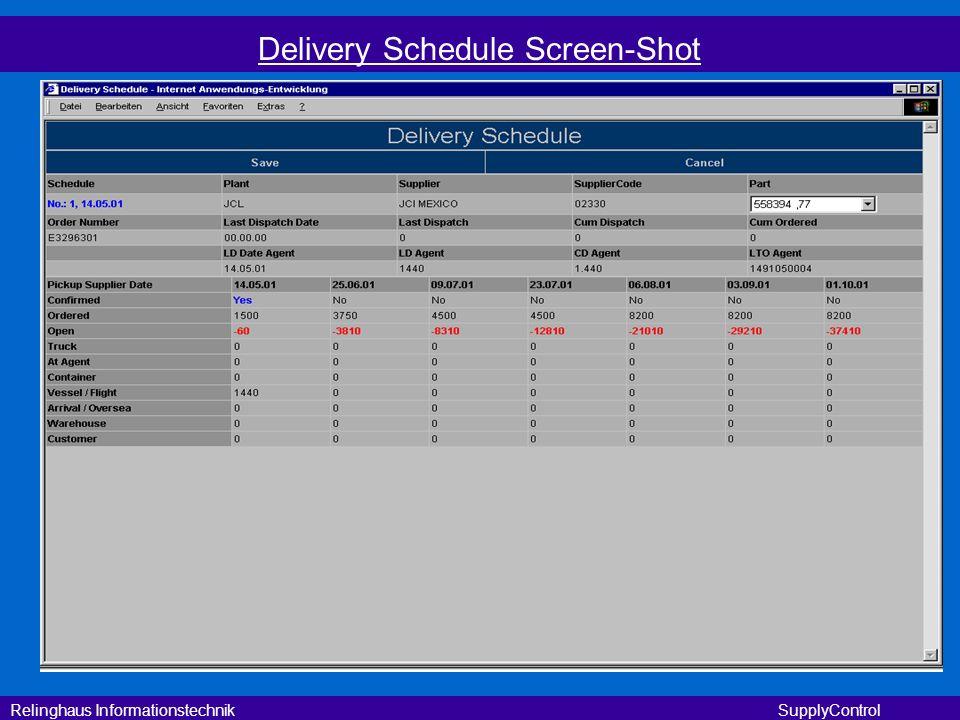 Relinghaus Informationstechnik SupplyControl Delivery Schedule Screen-Shot