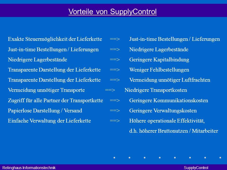 Relinghaus Informationstechnik SupplyControl Vorteile von SupplyControl Exakte Steuermöglichkeit der Lieferkette==>Just-in-time Bestellungen / Lieferu