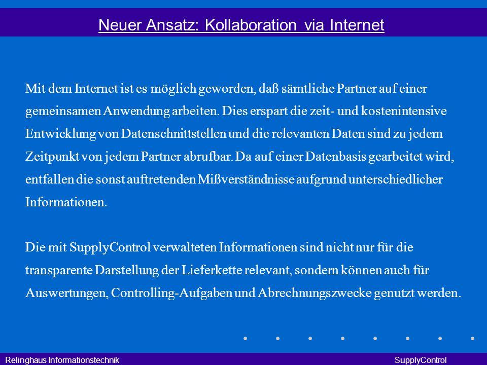Relinghaus Informationstechnik SupplyControl Neuer Ansatz: Kollaboration via Internet Mit dem Internet ist es möglich geworden, daß sämtliche Partner
