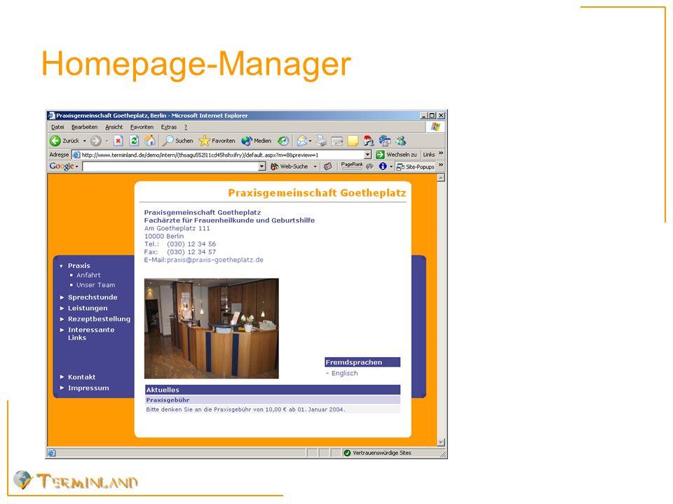 Was leistet der Homepage-Manager .