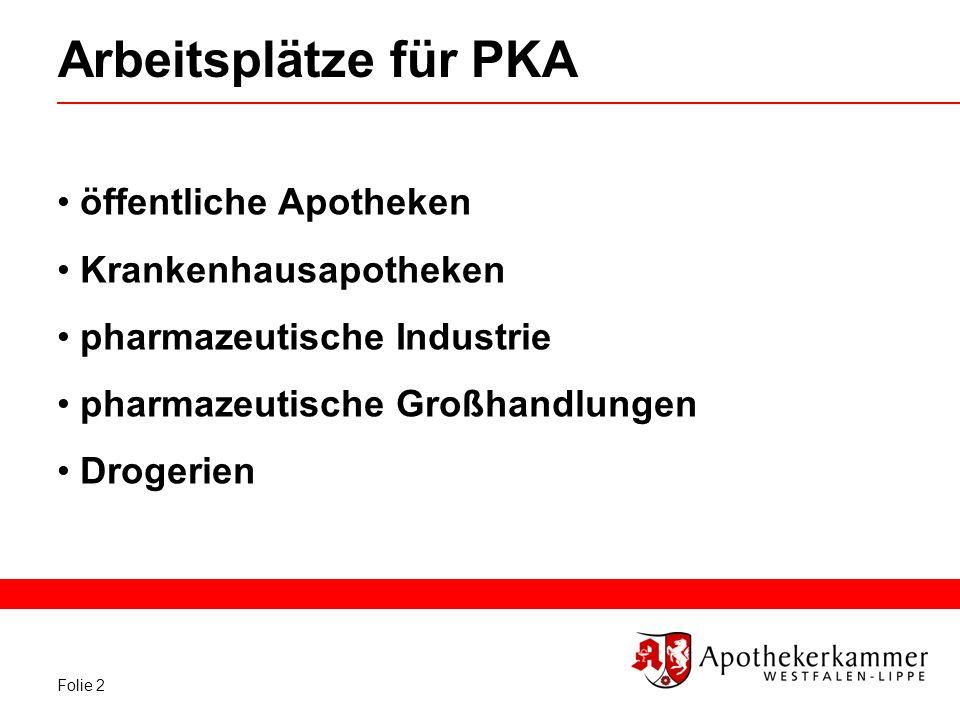 Folie 2 Arbeitsplätze für PKA öffentliche Apotheken Krankenhausapotheken pharmazeutische Industrie pharmazeutische Großhandlungen Drogerien