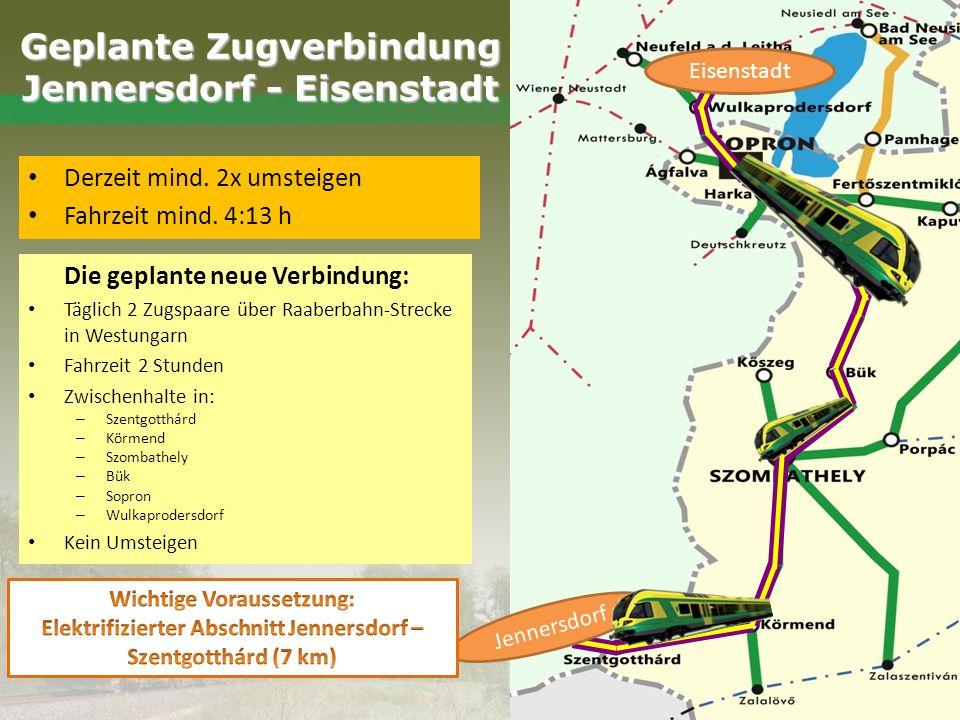 Die geplante neue Verbindung: Täglich 2 Zugspaare über Raaberbahn-Strecke in Westungarn Fahrzeit 2 Stunden Zwischenhalte in: – Szentgotthárd – Körmend