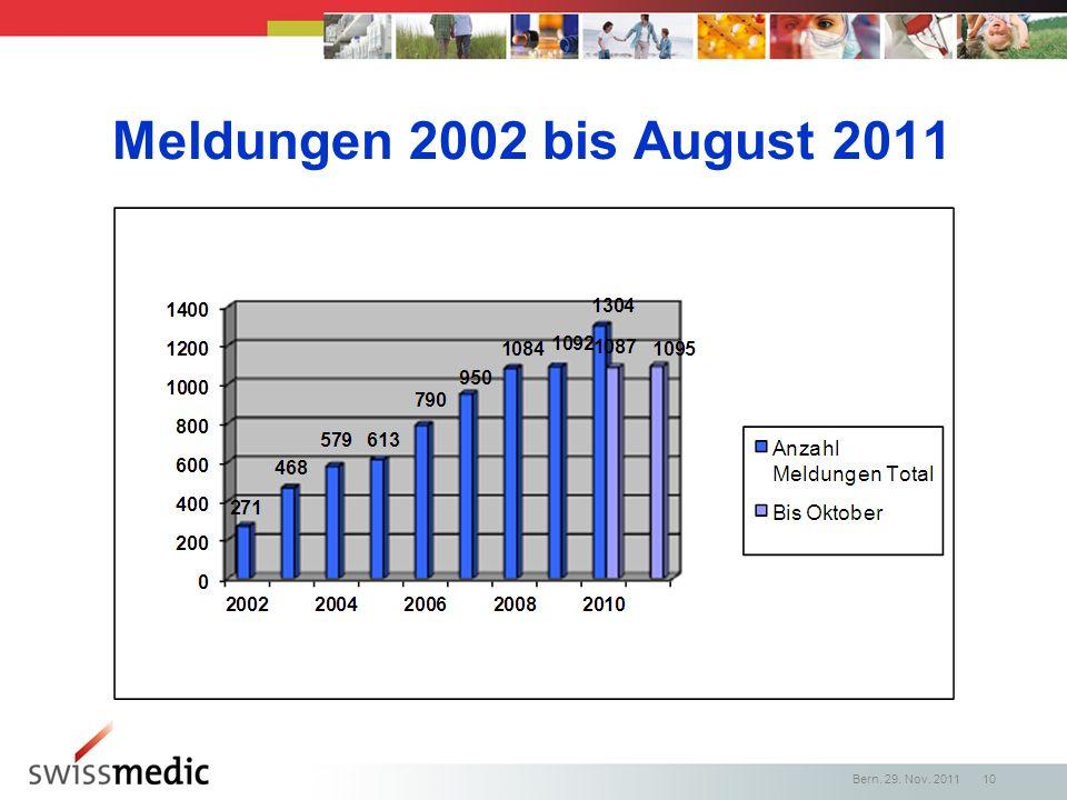 Meldungen 2002 bis August 2011 Bern, 29. Nov. 2011 10