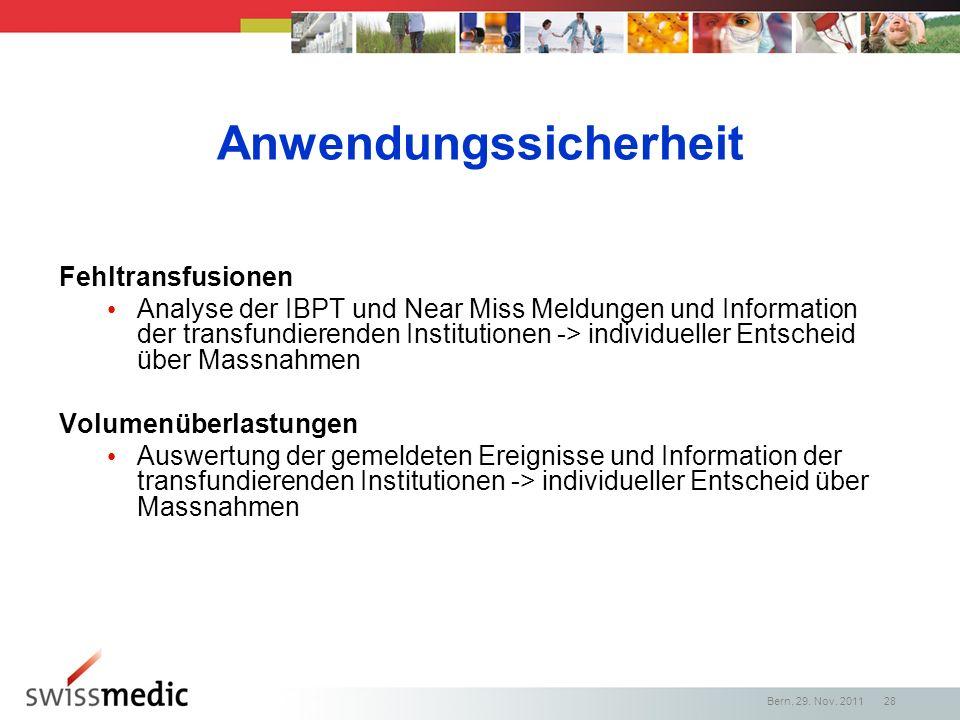 Anwendungssicherheit Fehltransfusionen Analyse der IBPT und Near Miss Meldungen und Information der transfundierenden Institutionen -> individueller E