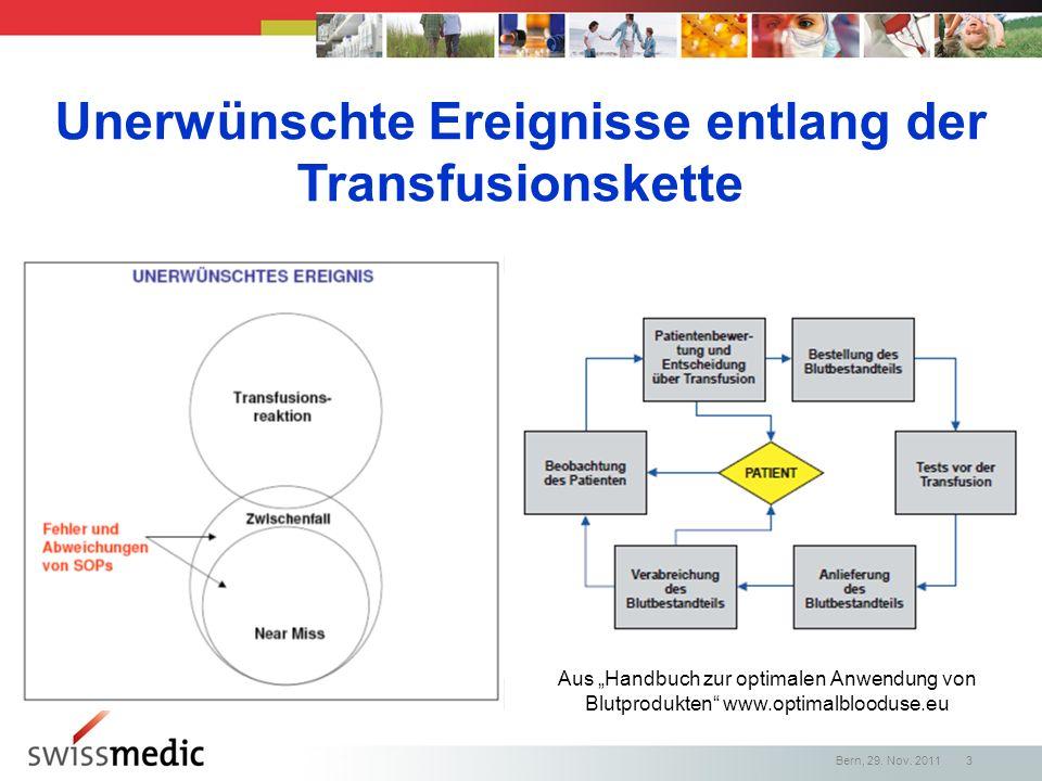 Unerwünschte Ereignisse entlang der Transfusionskette Aus Handbuch zur optimalen Anwendung von Blutprodukten www.optimalblooduse.eu Bern, 29. Nov. 201