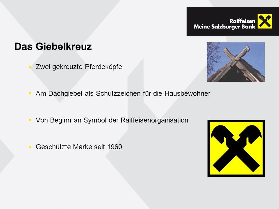 Das Giebelkreuz Zwei gekreuzte Pferdeköpfe Am Dachgiebel als Schutzzeichen für die Hausbewohner Von Beginn an Symbol der Raiffeisenorganisation Geschützte Marke seit 1960