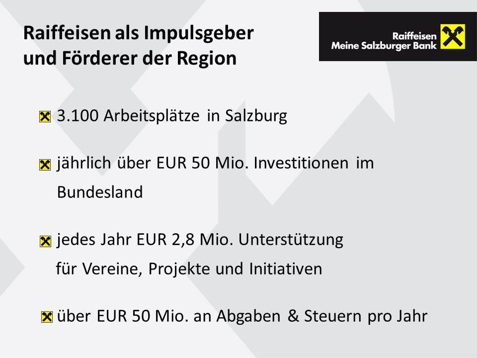 3.100 Arbeitsplätze in Salzburg jährlich über EUR 50 Mio.