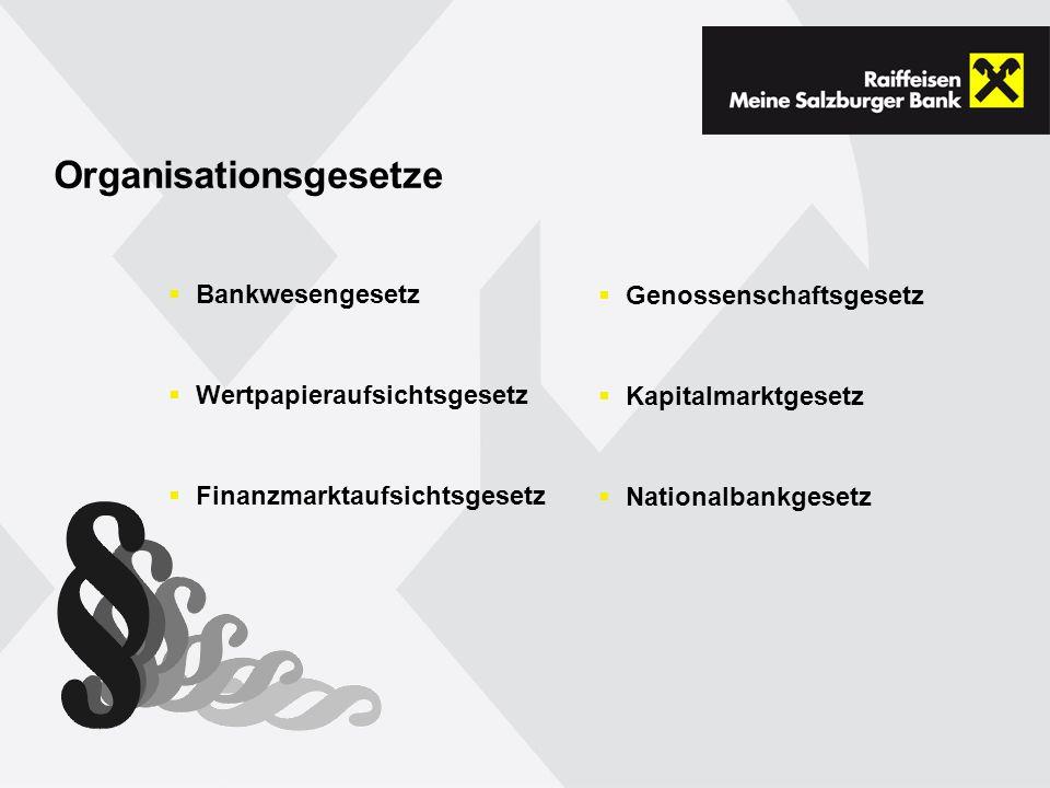 Organisationsgesetze Bankwesengesetz Wertpapieraufsichtsgesetz Finanzmarktaufsichtsgesetz Genossenschaftsgesetz Kapitalmarktgesetz Nationalbankgesetz