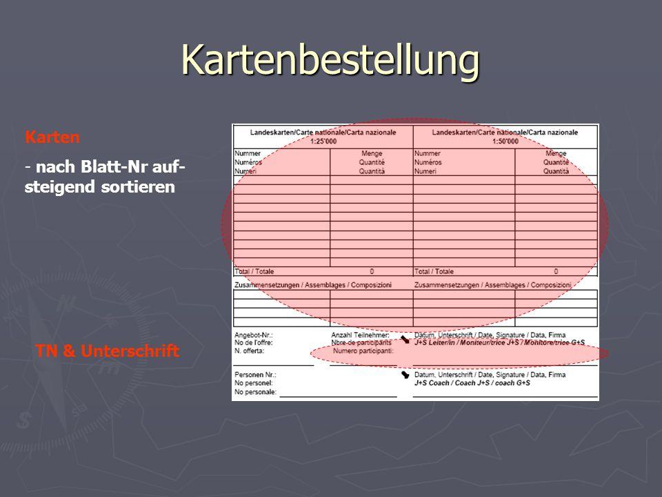Kartenbestellung Karten - nach Blatt-Nr auf- steigend sortieren TN & Unterschrift