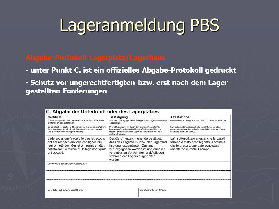 Lageranmeldung PBS Abgabe-Protokoll Lagerplatz/Lagerhaus - unter Punkt C. ist ein offizielles Abgabe-Protokoll gedruckt - Schutz vor ungerechtfertigte