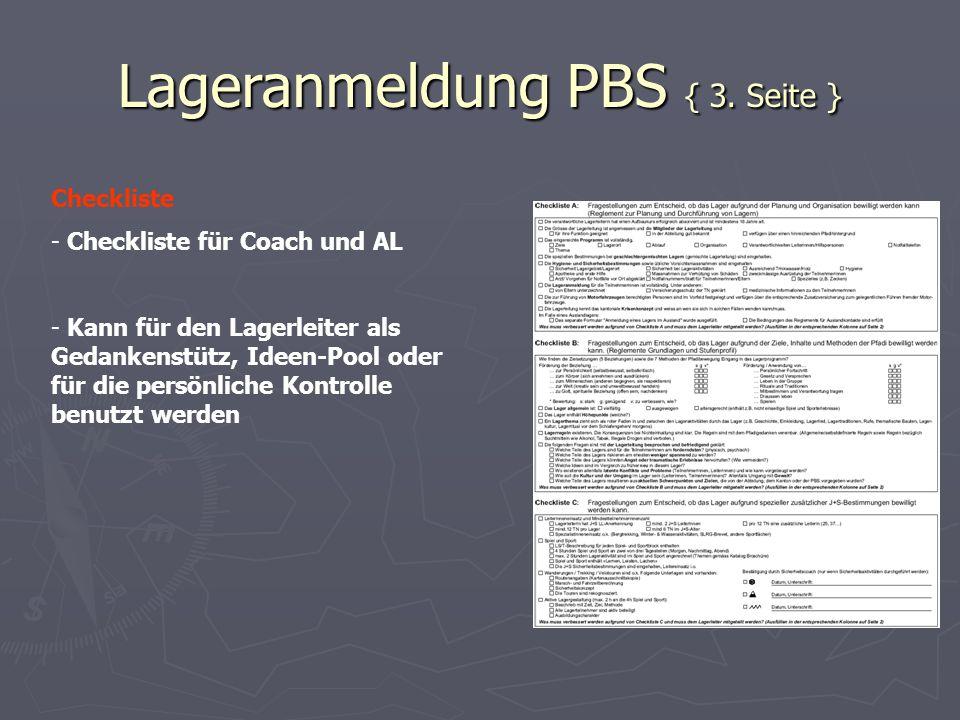 Lageranmeldung PBS { 3. Seite } Checkliste - Checkliste für Coach und AL - Kann für den Lagerleiter als Gedankenstütz, Ideen-Pool oder für die persönl
