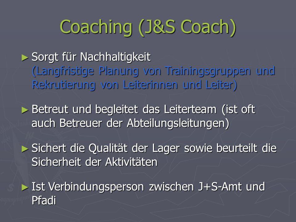 Coaching (J&S Coach) Sorgt für Nachhaltigkeit (Langfristige Planung von Trainingsgruppen und Rekrutierung von Leiterinnen und Leiter) Sorgt für Nachha