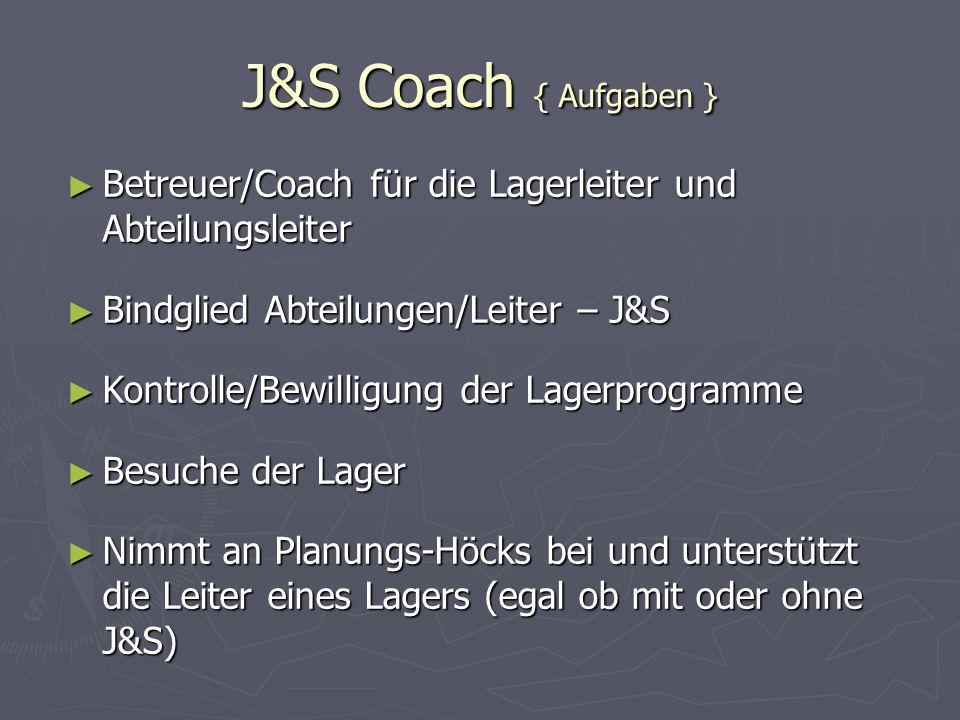 J&S Coach { Aufgaben } Betreuer/Coach für die Lagerleiter und Abteilungsleiter Betreuer/Coach für die Lagerleiter und Abteilungsleiter Bindglied Abtei