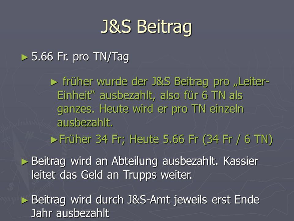 J&S Beitrag 5.66 Fr. pro TN/Tag 5.66 Fr. pro TN/Tag früher wurde der J&S Beitrag pro Leiter- Einheit ausbezahlt, also für 6 TN als ganzes. Heute wird
