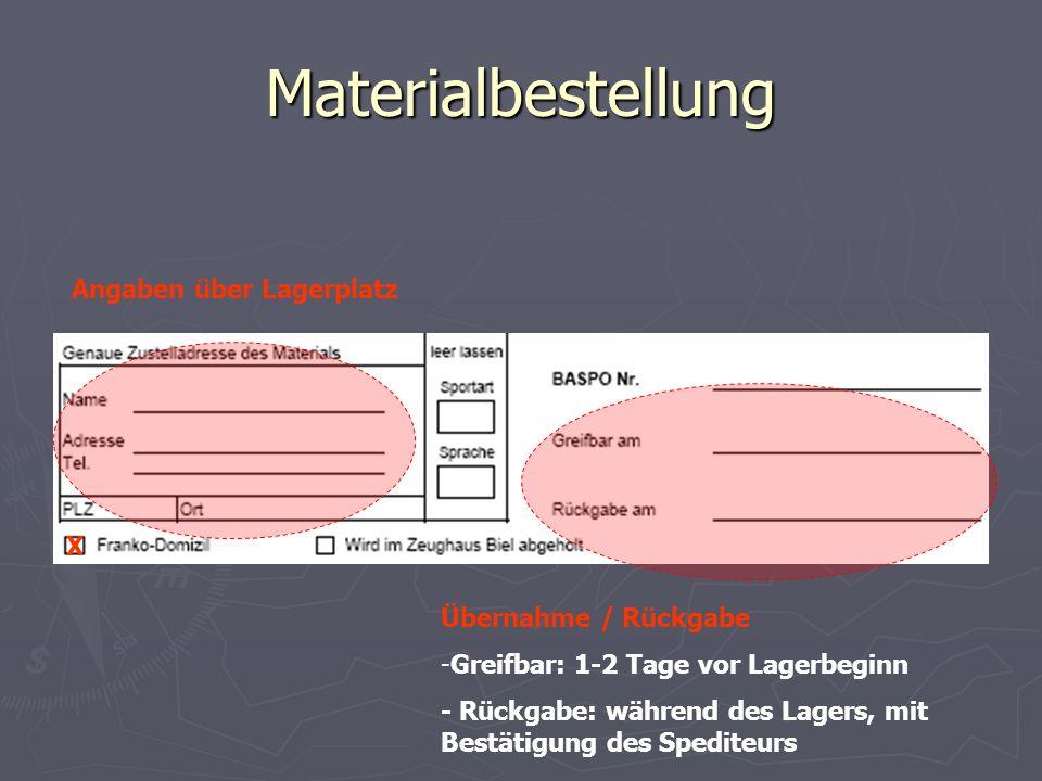 Materialbestellung Angaben über Lagerplatz X Übernahme / Rückgabe -Greifbar: 1-2 Tage vor Lagerbeginn - Rückgabe: während des Lagers, mit Bestätigung