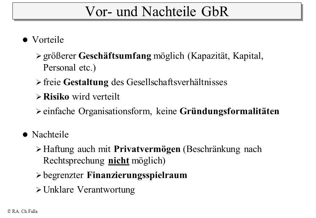 © RA. Ch.Falla Vor- und Nachteile GbR Vorteile größerer Geschäftsumfang möglich (Kapazität, Kapital, Personal etc.) freie Gestaltung des Gesellschafts