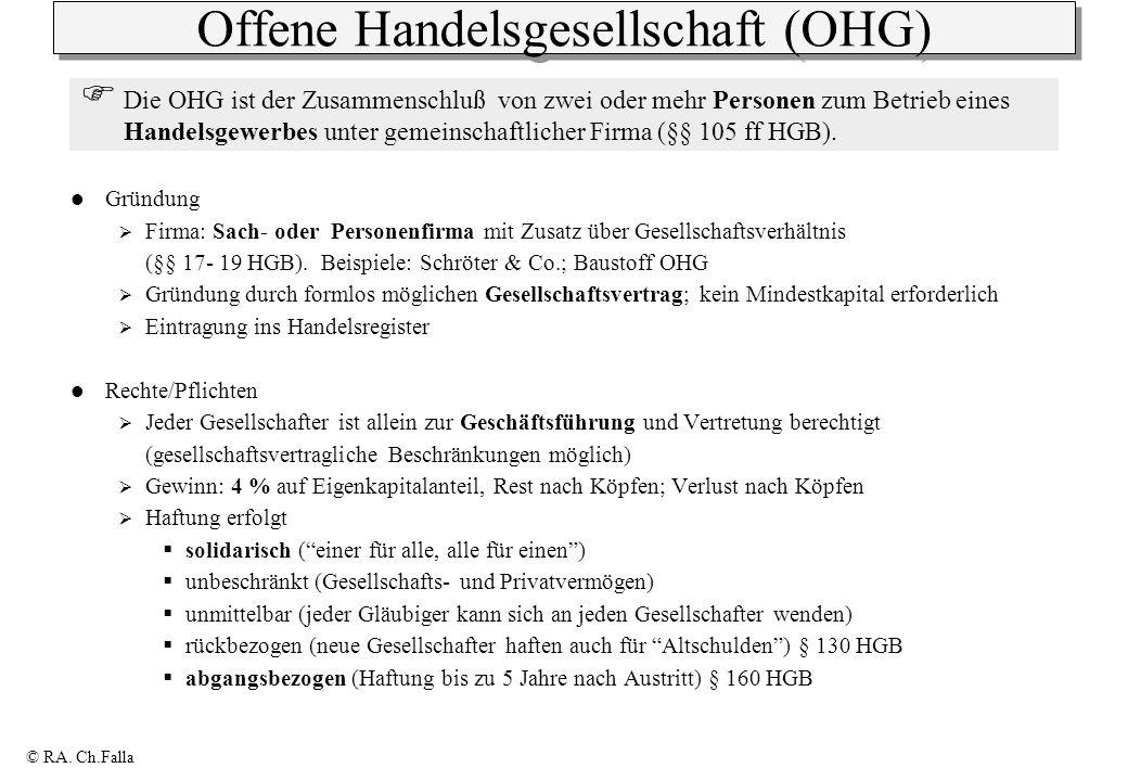 © RA. Ch.Falla Offene Handelsgesellschaft (OHG) Gründung Firma: Sach- oder Personenfirma mit Zusatz über Gesellschaftsverhältnis (§§ 17- 19 HGB). Beis