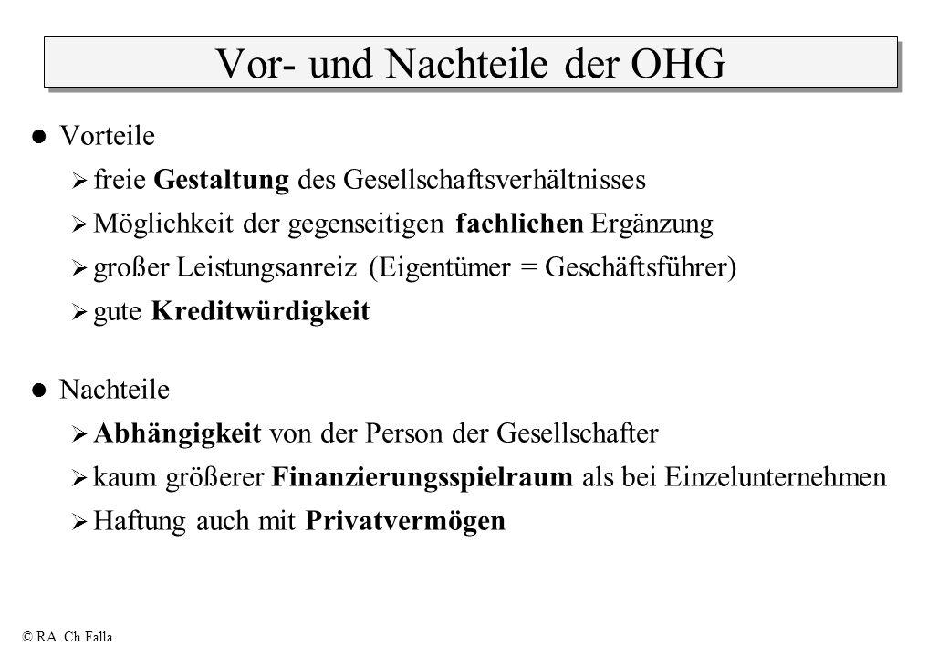© RA. Ch.Falla Vor- und Nachteile der OHG Vorteile freie Gestaltung des Gesellschaftsverhältnisses Möglichkeit der gegenseitigen fachlichen Ergänzung