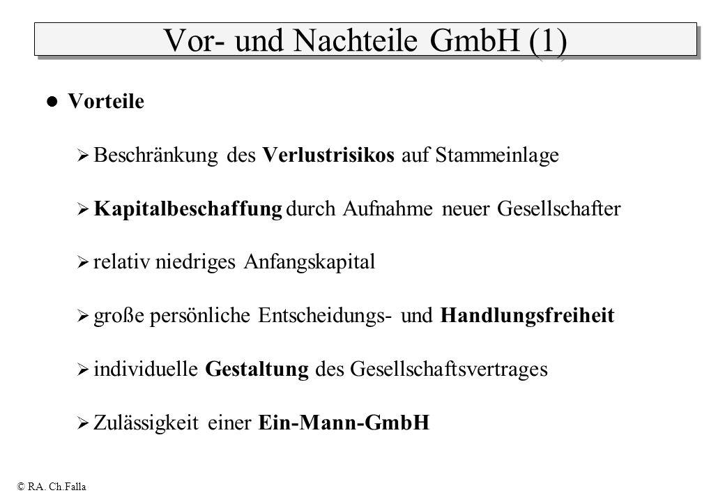 © RA. Ch.Falla Vor- und Nachteile GmbH (1) Vorteile Beschränkung des Verlustrisikos auf Stammeinlage Kapitalbeschaffung durch Aufnahme neuer Gesellsch
