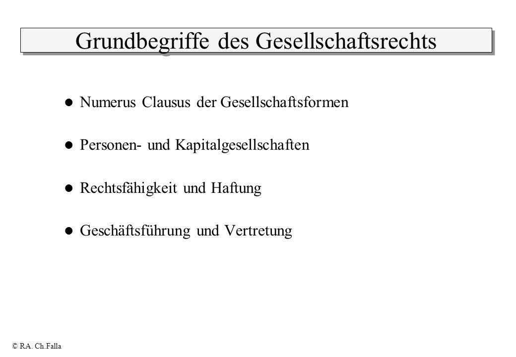 © RA. Ch.Falla Grundbegriffe des Gesellschaftsrechts Numerus Clausus der Gesellschaftsformen Personen- und Kapitalgesellschaften Rechtsfähigkeit und H