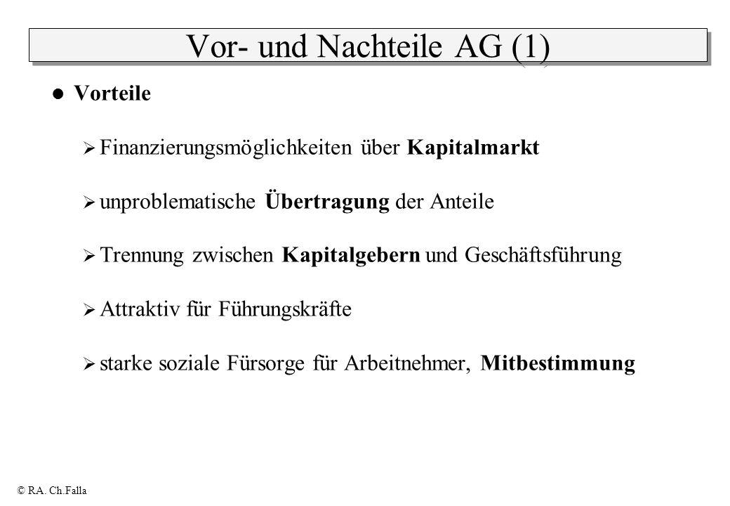 © RA. Ch.Falla Vor- und Nachteile AG (1) Vorteile Finanzierungsmöglichkeiten über Kapitalmarkt unproblematische Übertragung der Anteile Trennung zwisc