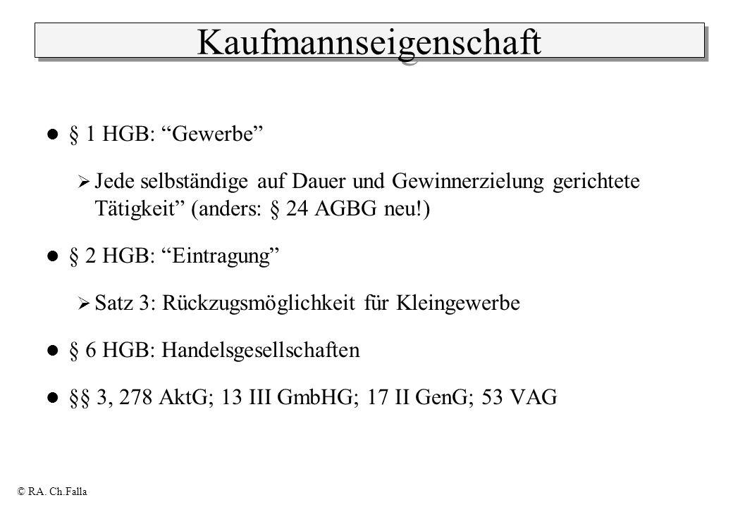 © RA. Ch.Falla Kaufmannseigenschaft § 1 HGB: Gewerbe Jede selbständige auf Dauer und Gewinnerzielung gerichtete Tätigkeit (anders: § 24 AGBG neu!) § 2