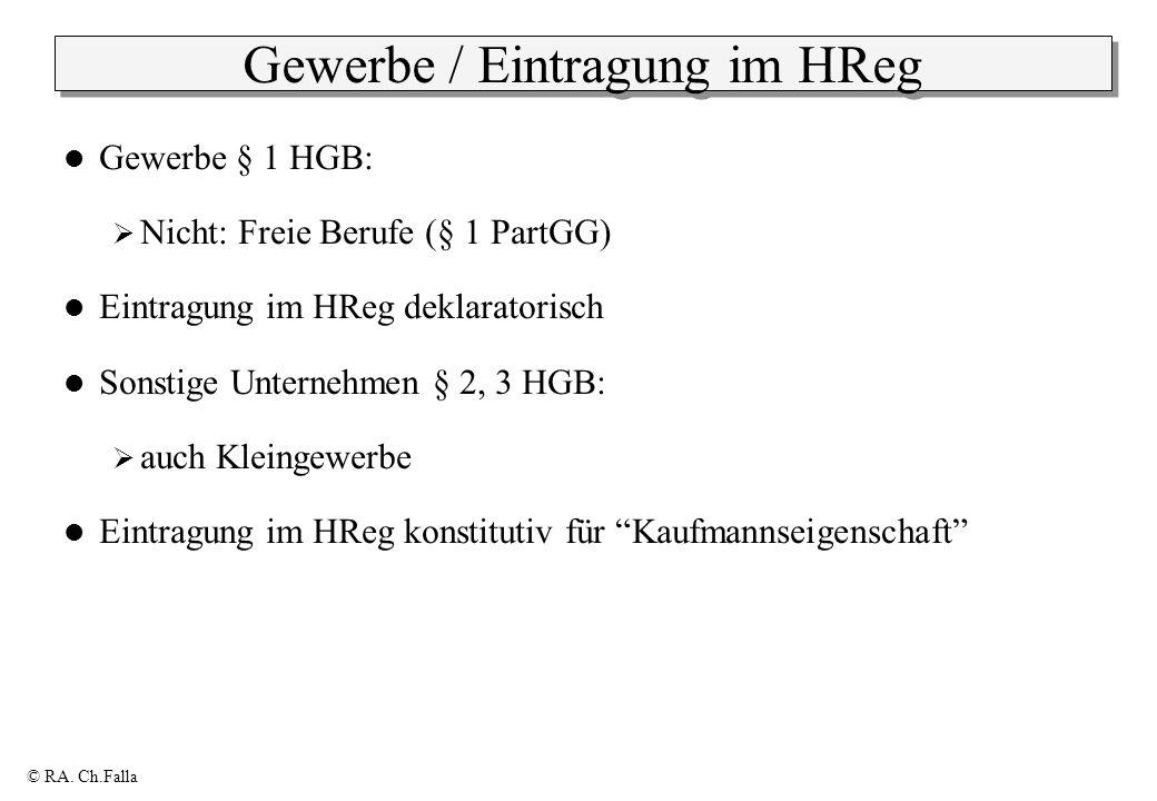 © RA. Ch.Falla Gewerbe / Eintragung im HReg Gewerbe § 1 HGB: Nicht: Freie Berufe (§ 1 PartGG) Eintragung im HReg deklaratorisch Sonstige Unternehmen §