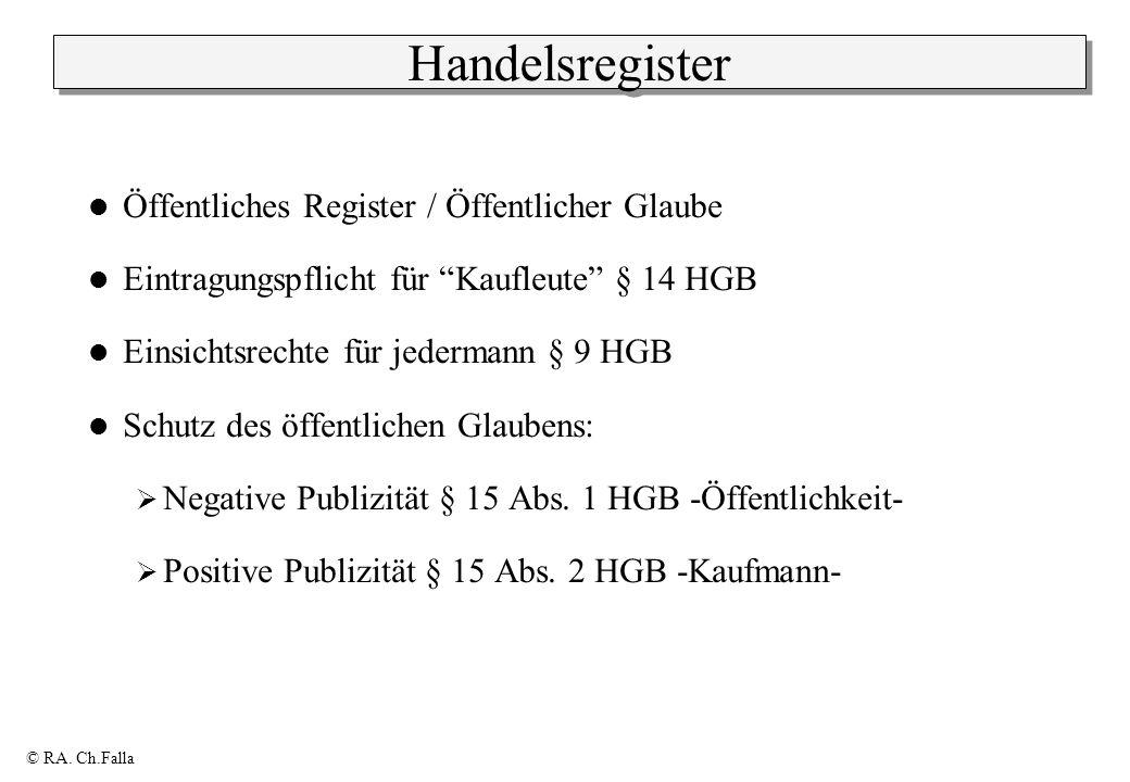 © RA. Ch.Falla Handelsregister Öffentliches Register / Öffentlicher Glaube Eintragungspflicht für Kaufleute § 14 HGB Einsichtsrechte für jedermann § 9