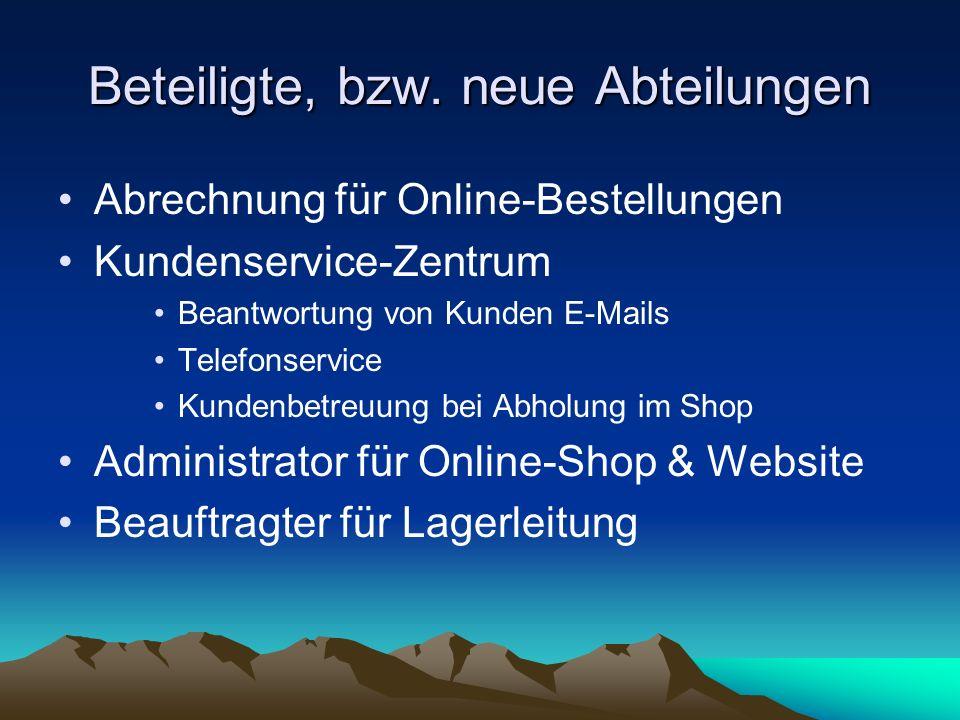 Beteiligte, bzw. neue Abteilungen Abrechnung für Online-Bestellungen Kundenservice-Zentrum Beantwortung von Kunden E-Mails Telefonservice Kundenbetreu