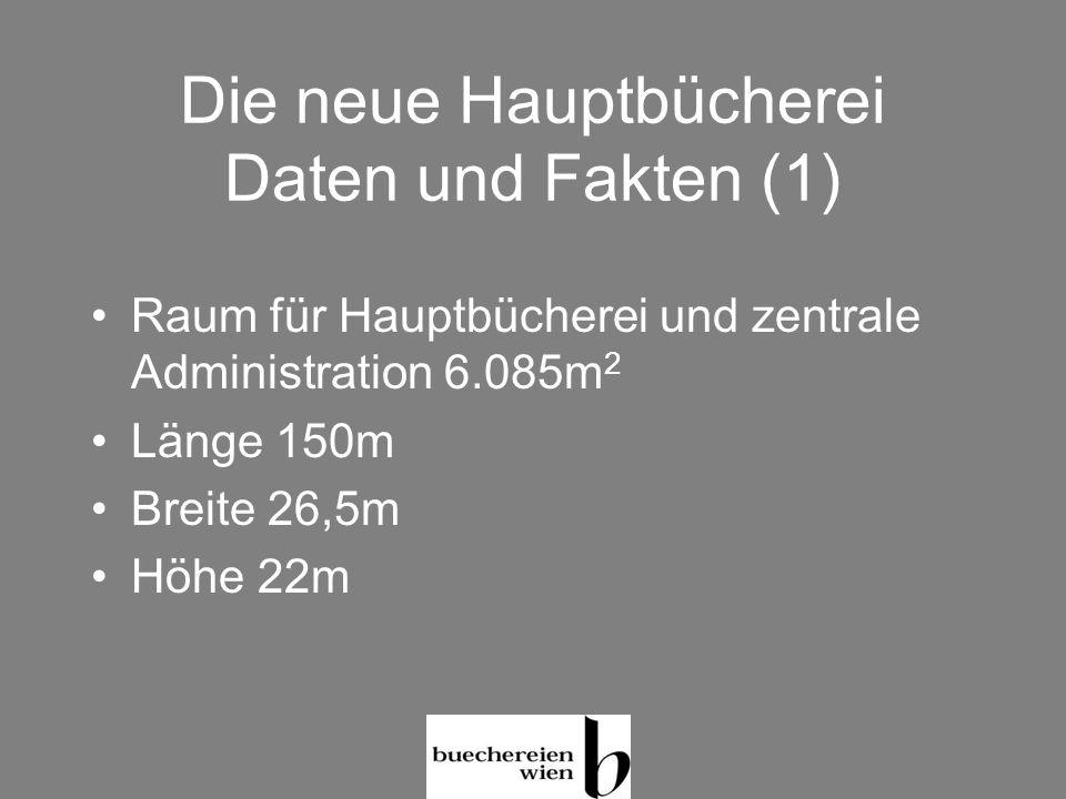 Die neue Hauptbücherei Daten und Fakten (1) Raum für Hauptbücherei und zentrale Administration 6.085m 2 Länge 150m Breite 26,5m Höhe 22m
