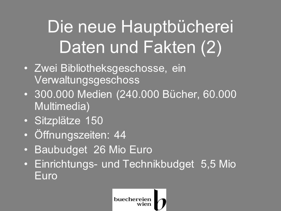 Die neue Hauptbücherei Daten und Fakten (2) Zwei Bibliotheksgeschosse, ein Verwaltungsgeschoss 300.000 Medien (240.000 Bücher, 60.000 Multimedia) Sitz
