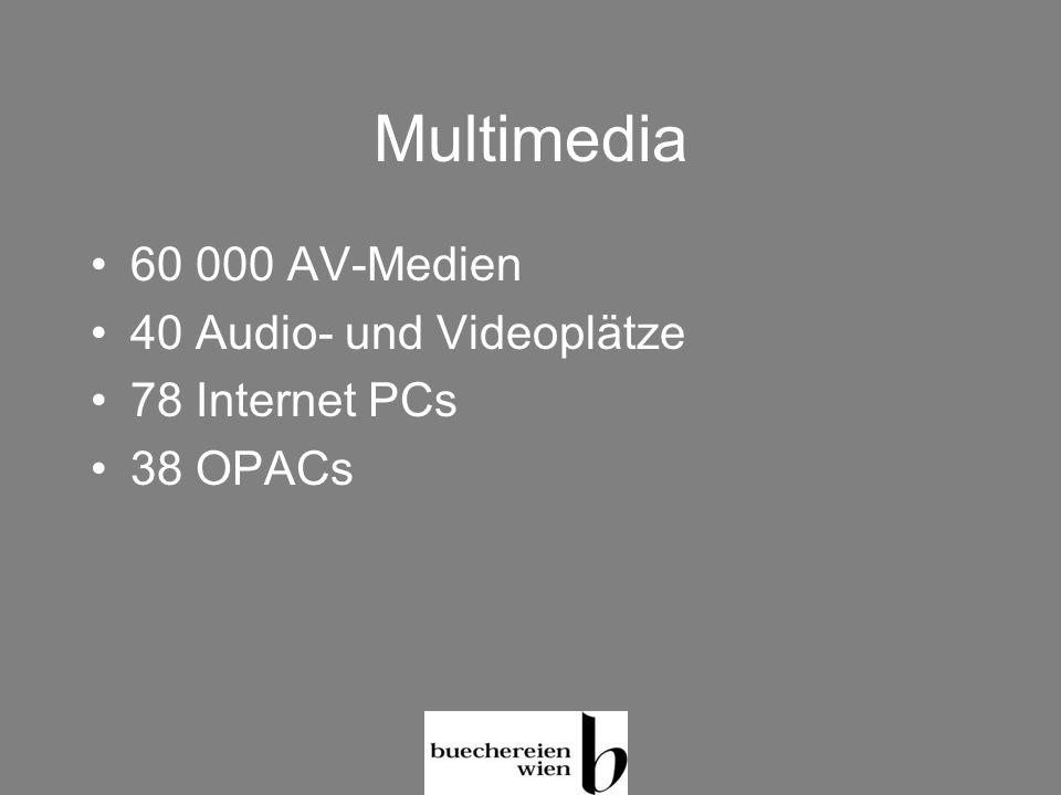 Multimedia 60 000 AV-Medien 40 Audio- und Videoplätze 78 Internet PCs 38 OPACs