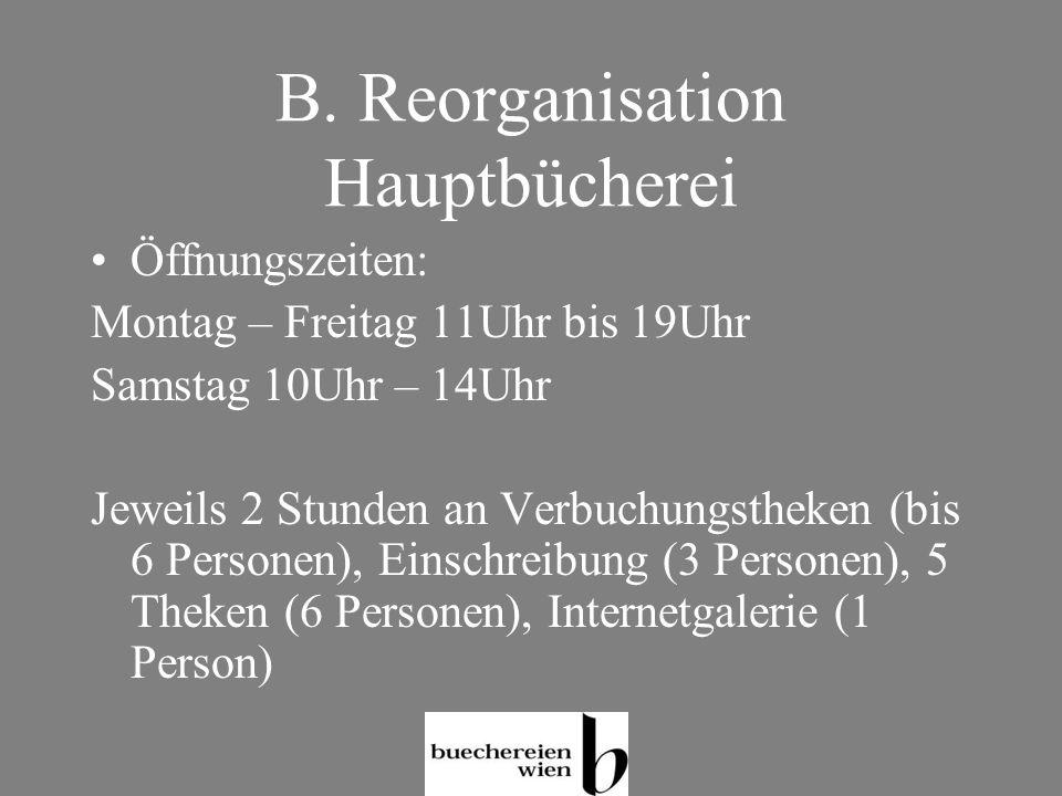 B. Reorganisation Hauptbücherei Öffnungszeiten: Montag – Freitag 11Uhr bis 19Uhr Samstag 10Uhr – 14Uhr Jeweils 2 Stunden an Verbuchungstheken (bis 6 P