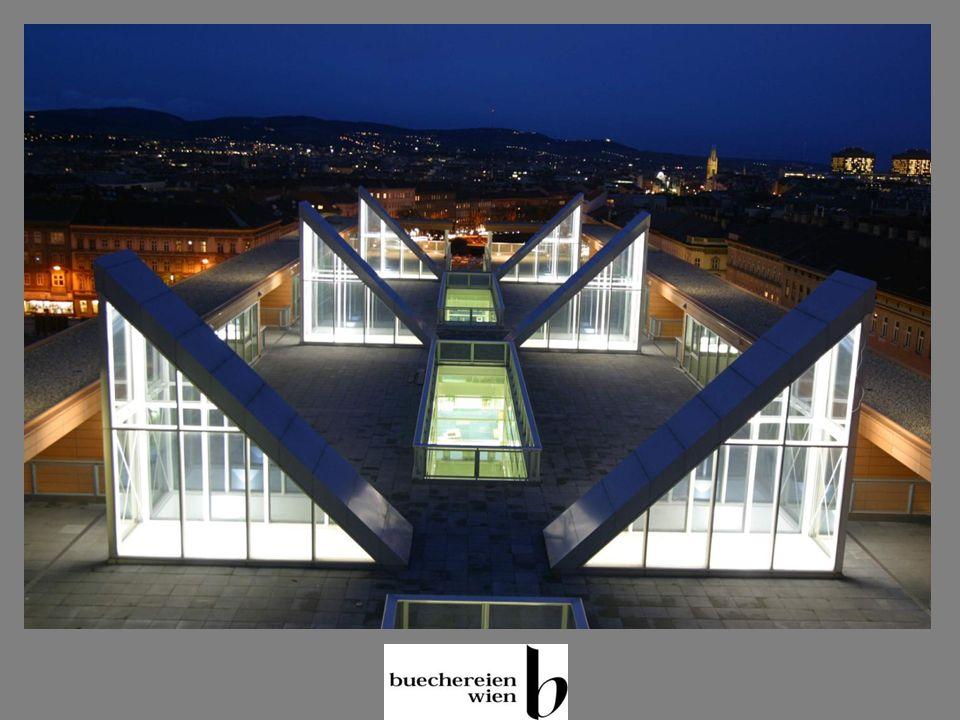 Die neue Hauptbücherei Daten und Fakten (2) Zwei Bibliotheksgeschosse, ein Verwaltungsgeschoss 300.000 Medien (240.000 Bücher, 60.000 Multimedia) Sitzplätze 150 Öffnungszeiten: 44 Baubudget 26 Mio Euro Einrichtungs- und Technikbudget 5,5 Mio Euro